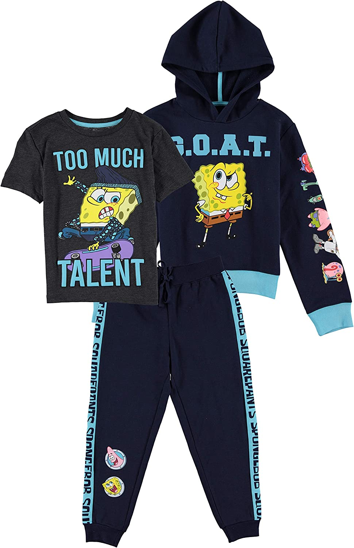 SpongeBob SquarePants Boys Graphic Hoodie, Top and Jogger Pants 3-Piece...
