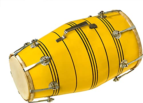 Hemlata Handicrafts Yellow Nut Bolt Dholak
