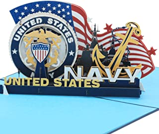Sweet Land of Liberty Brave Soldiers of U.S. Army - 3D Pop Up Greeting Card - Father's Day Gift Birthday Card, Graduation Card Anniversary Card (Navy) By AITpop