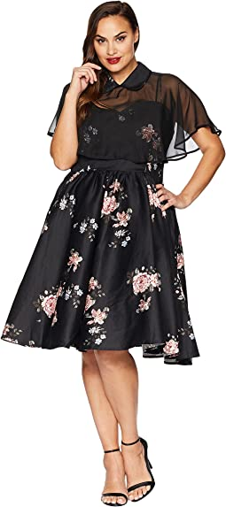 Plus Size Luna Swing Dress & Mesh Capelet