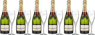 Moet & Chandon Brut Champagner Imperial Set mit Geschenkverpackung mit 6 Gläser 6 x 0.75l
