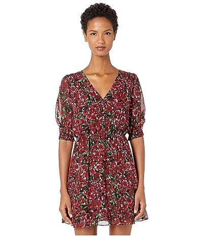 The Kooples Raspberry Love Print Short Dress (Burgundy) Women