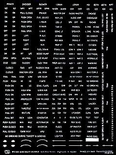 Variedade de placas de aviação, letras brancas em fundo transparente