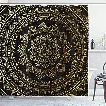 Ambesonne Mandala Shower Curtain, Eastern Tribe Themed Circular Flower Ornamental Meditation Symbol, Fabric Bathroom Decor Set with Hooks, 84 inches Extra Long, Dark Pine Green and Mustard