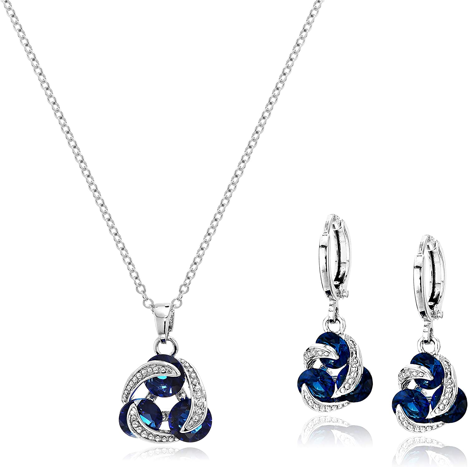 Crystalline Azuria Round Colorful Multi Blue Simulated Sapphire White Cubic Zirconia Crystals Jewellery Set Pendant Necklace 18