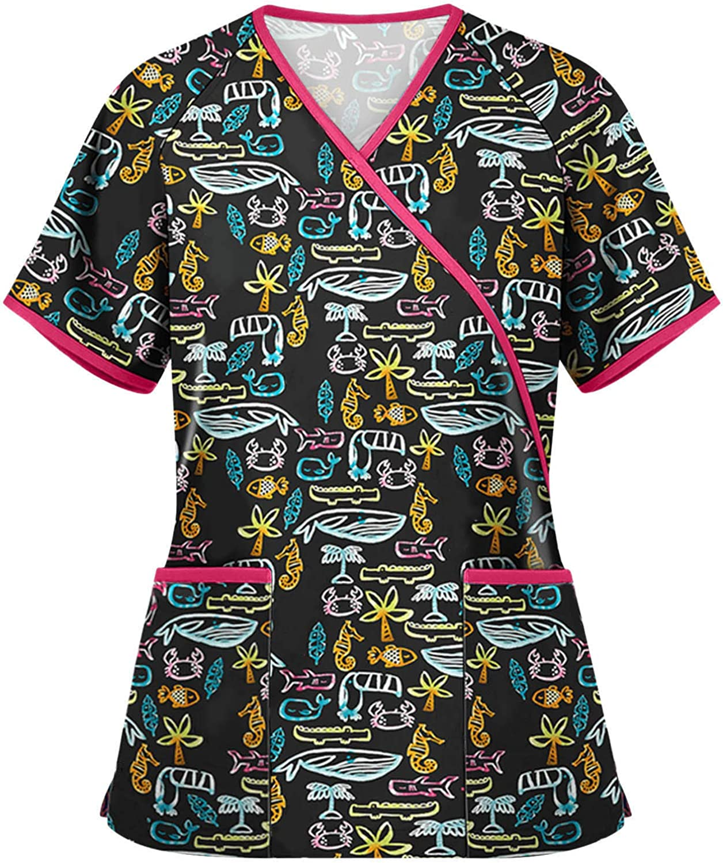 Womens Short Sleeve Scrub_Top Animal Print Workwear Tops Casual Nurses_Tunic V-Neck Working Uniform T-Shirts