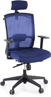 ofiprix | Silla Kendo | Silla de Oficina Ergonómica | Silla Giratoria de Escritorio | Respaldo Transpirable | Soporte Lumbar | Brazos Ajustables | Reposacabezas | Color Azul
