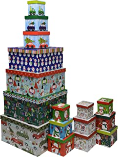 Christmas Boxes, 16 Count Nested, Assorted Large Set with Many Sizes and Prints, fits in one Box (Santa Express)