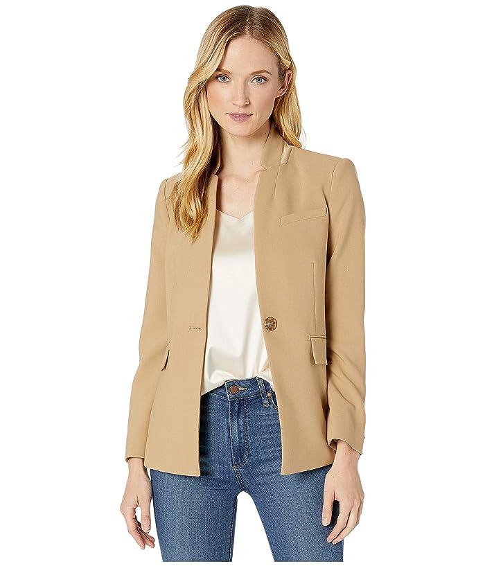 Vince Camuto  Bi-Stretch Crepe Stand Collar Blazer (Latte) Womens Jacket