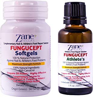 Zane Hellas FunguCept Advanced. Athlete's Repair Solution. Relieves Itching, Burning, Cracking, Scaling. Stop Bad Odor. Visible Results in 5 Days. 1 fl. oz - 30 ml and 60 Softgels.