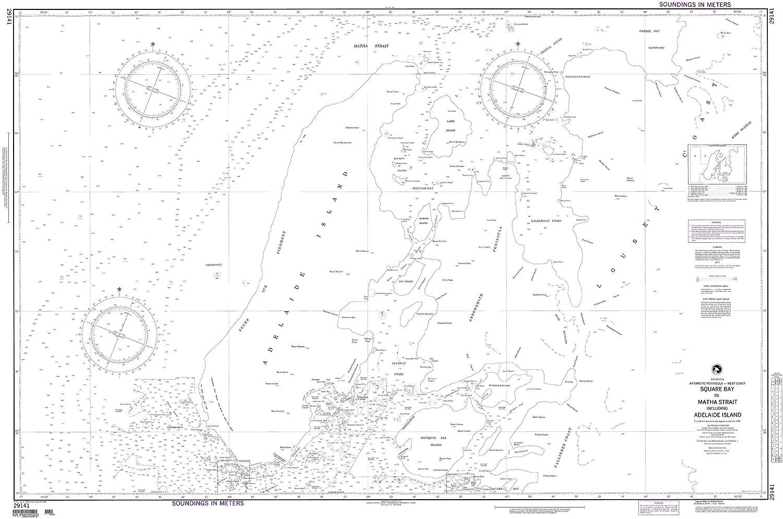 NGA Chart 29141 Square Bay to Matha Strait Including Adelaide Island 53  x 36  Matte Plastic Map