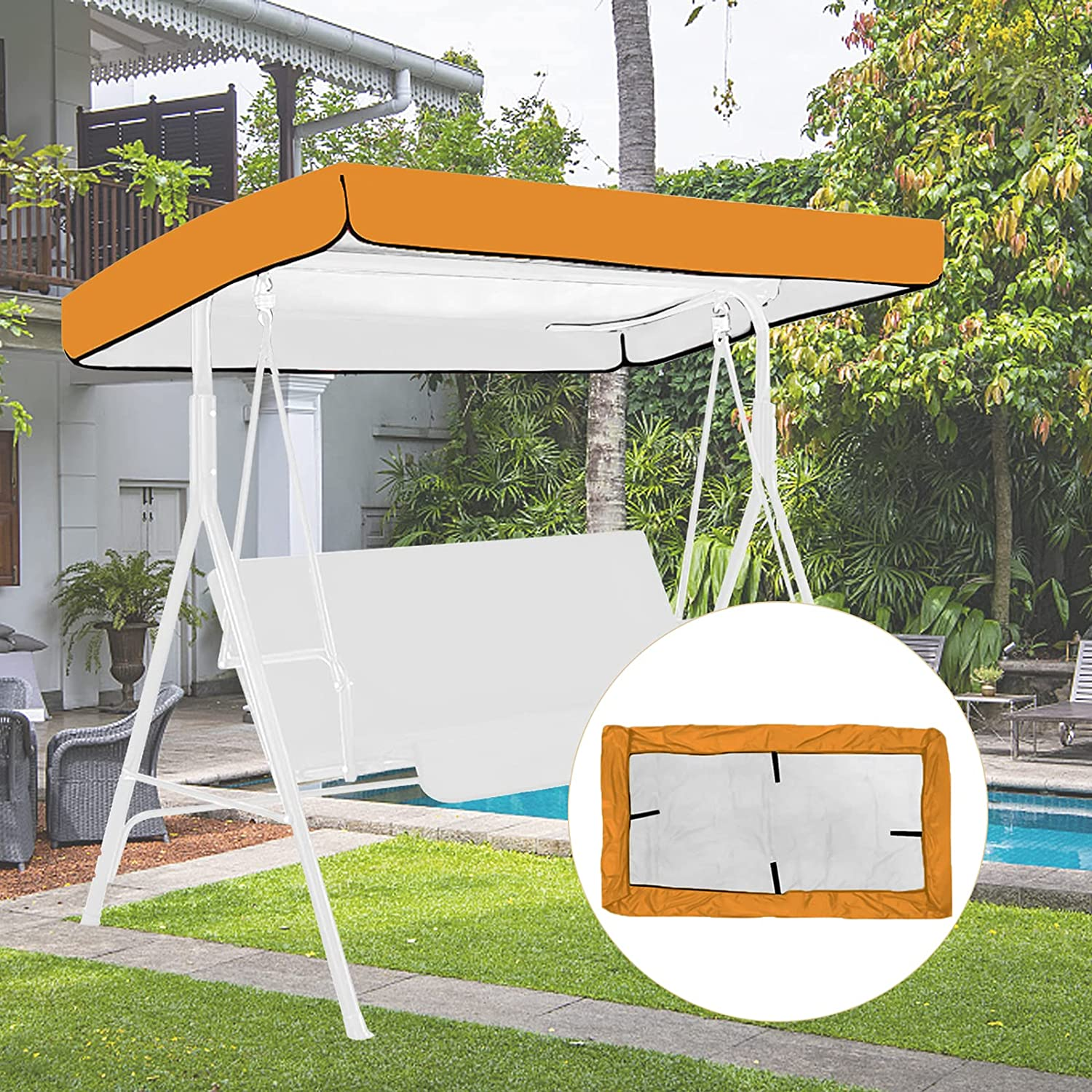 Outdoor Patio Swing Canopy Replacement Top Cover, Replacement Cover for Swing Canopy, Lawn Garden Seater Sun Shade Outdoor Porch Swing Hammock Waterproof Protector Furniture Cover (Coffee Color)
