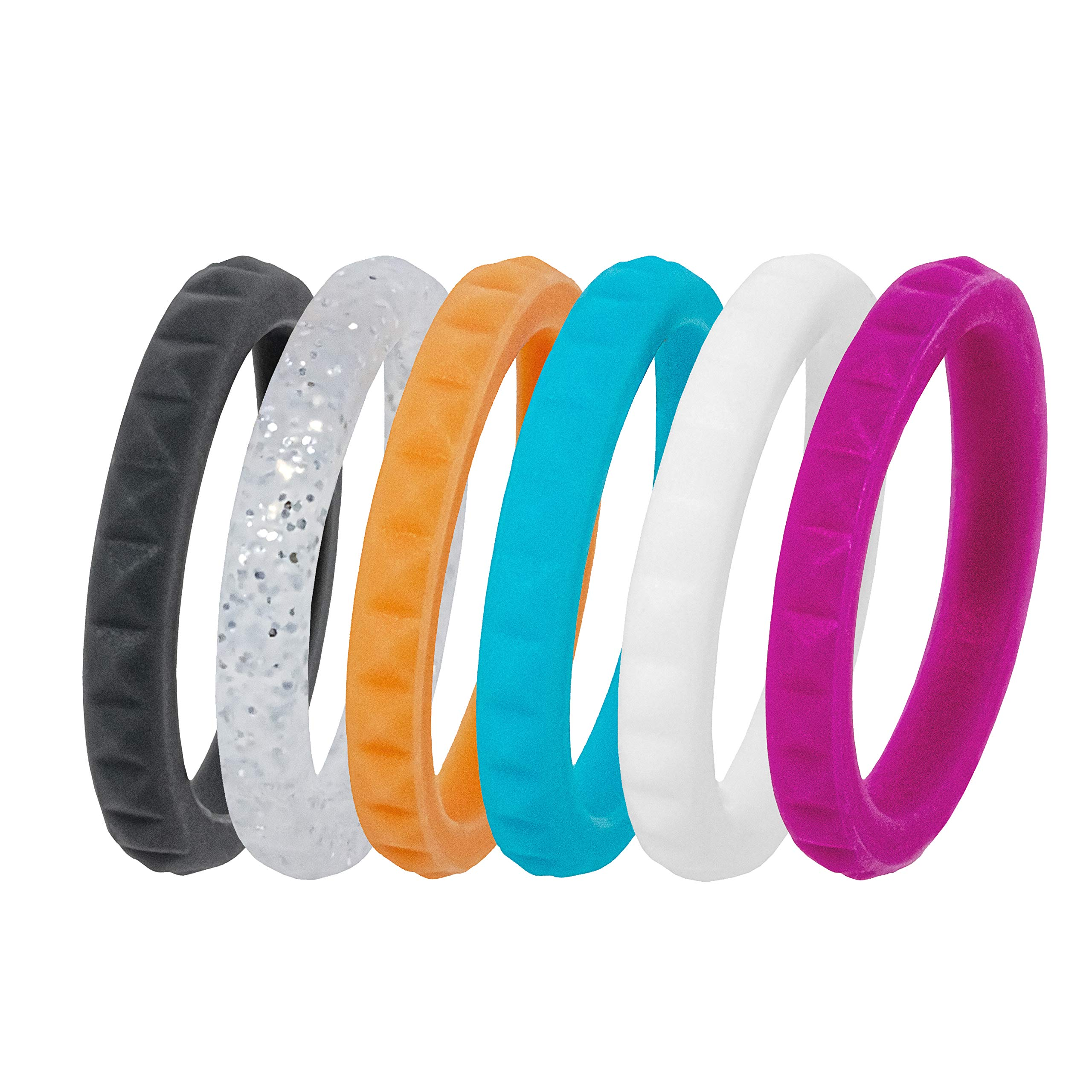 Safe Material and High Durability MIVA Silicone Wedding Ring for Women Rubber Wedding Bands Sets for Her Womens Active Lifestyle Fashion Rings Packs