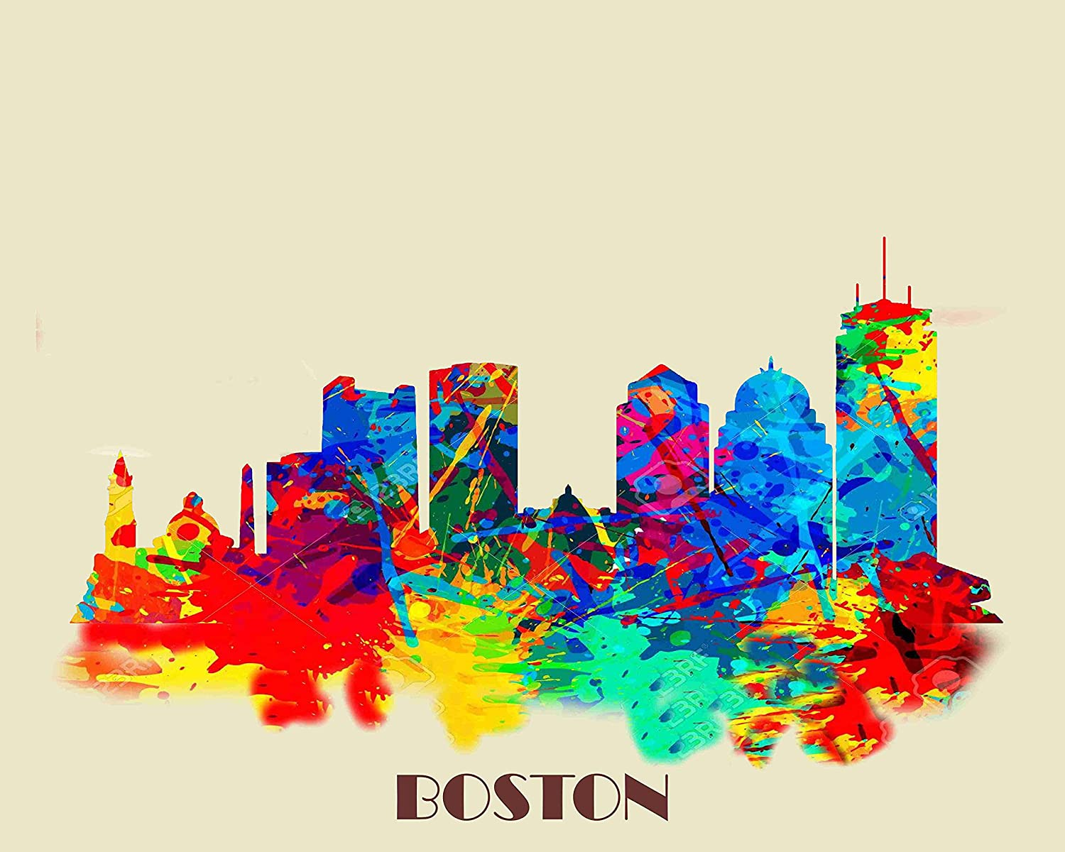 Recommended Boston Watercolor Skyline Cityscape Art and Limited time cheap sale Print Numbere Signed