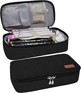 Black Pencil Pouch- Large Pencil Case- Colored Pencil Marker Organizer Pen Box Stationary Office Supplies for Work from Home