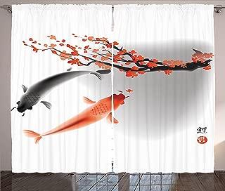 Ambesonne Japanese Curtains, Koi Carp Fish Couple Swimming with Cherry Blossom Sakura Branch Culture Design, Living Room Bedroom Window Drapes 2 Panel Set, 108