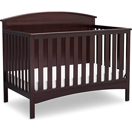 Delta Children Archer Solid Panel 4-in-1 Convertible Baby Crib, Dark Chocolate , 55.75x30.50x43.75 Inch (Pack of 1)
