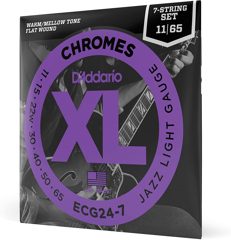 D'Addario ECG24-7 Chromes, cuerdas de entorchado plano para guitarra eléctrica de 7 cuerdas, blandas para Jazz, 11-65