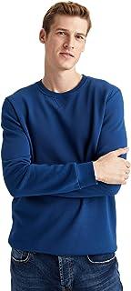 DeFacto Heren Regular Fit Gebreide Crew Neck Lange Mouwen Hatless Sweatshirts voor mannen