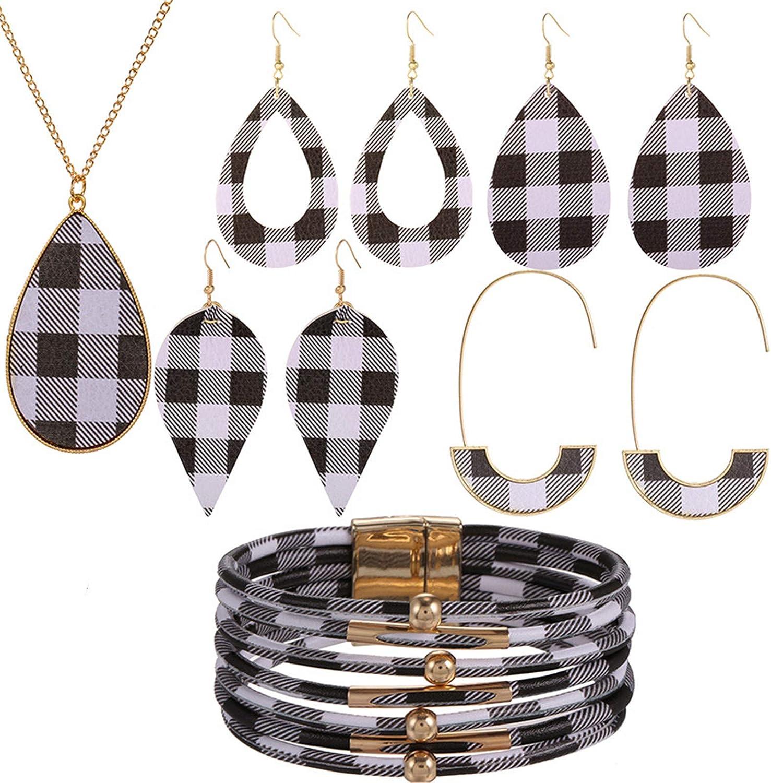 U/D 6Pcs Christmas Faux Leather Plaid Print Jewelry Set for Women Girls Lightweight Waterdrop Dangle Earrings Pendant Necklace Multi-Layer Bracelet Friend Christmas Accessory-A Black