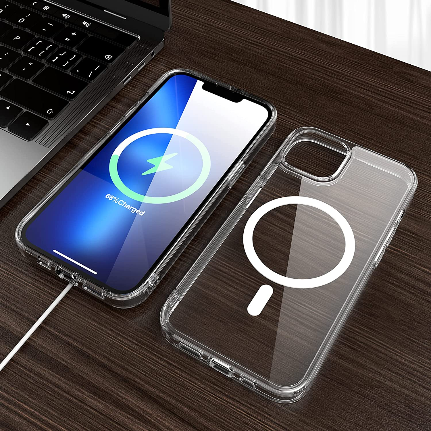 CITYWAY Magnetic Case Designed for iPhone 13 6.1 Inch, Compatible with MagSafe, Hard PC Back + Soft TPU Frame, Shockproof Clear Case, Non-Yellowing, Crystal Clear