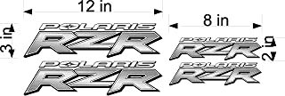 Polaris RZR 4 pack brushed silver effect utv logo decal, graphic, sticker