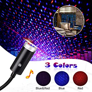 Sound Activated USB Star Light Projector with 9 Functional Models, 3 Colors, ReKeen Romantic Interior Auto Roof Lights, USB Night Light Decorations for Car, Bedroom, Ceiling, Party (Red&Blue)