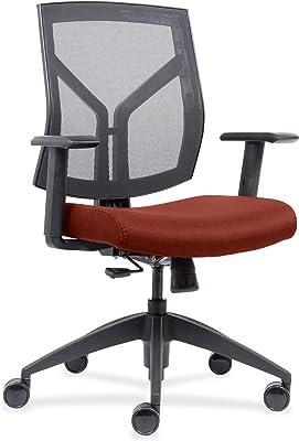 Lorell Mid-Back wth Mesh Back & Fabric Seat Chair, Orange