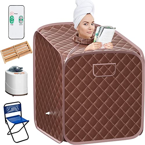 wholesale Giantex Portable Steam Sauna outlet online sale Spa lowest 2L Folding Private Sauna Tent W/Chair Foot, Massage Roller, Absorbent Pad,9 Adjustable Temperature Levels for Weight Loss, Detox, Stress Fatigue 33 x 33x 42(Coffee) sale