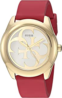 GUESS Comfortable Gold-Tone + Red Stain Resistant Silicone Logo Watch. Color: Red