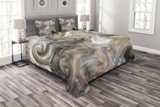 Ambesonne Marble Bedspread, Retro Style Paintbrush Colors in Marbling Texture Watercolor Artwork, Decorative Quilted 3 Piece Coverlet Set with 2 Pillow Shams, Queen Size, Sand Brown
