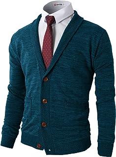 a2ace1f5 H2H Mens Slim Fit Cardigan Sweater Shawl Collar Soft Fabric with Ribbing  Edge