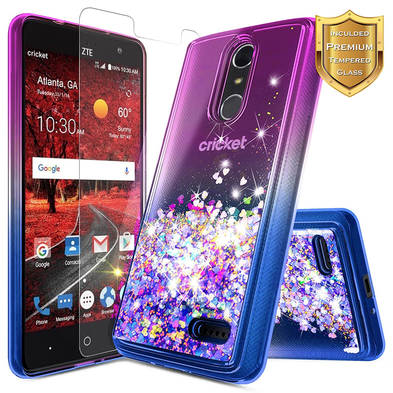 NageBee Compatible with ZTE Blade Spark (Z971) / ZMax One (Z719DL) / Grand X4 (Z956) w/[Tempered Glass Screen Protector], NageBee Glitter Liquid Quicksand Waterfall Sparkle Cute Case -Purple/Blue