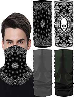 4 Pieces Summer Face Cover UV Protection Neck Gaiter Scarf Sunscreen Breathable Bandana