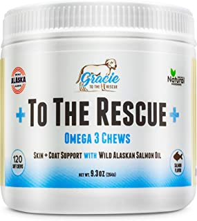 Omega 3 Fish Oil For Dogs - 120 Soft Chews - Natural Wild Salmon Oil For Dogs With Omega 3 6 9 + EPA, DHA, Dog Skin and Coat Supplement, Allergy & Itch Relief, Reduce Shedding, Heart & Brain Health