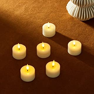 LED Tea Light Candles - Realistic Flickering 3D Flame and Wick, Real Ivory Wax, 4 / 8 Hour Timer Setting, Flameless Tealig...