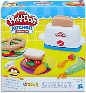 Play-Doh - Kitchen Creations - Toaster Playset - Inc Cooking Acc & 6 Tubs of Dough - Creative Kids Toys - Ages 3+