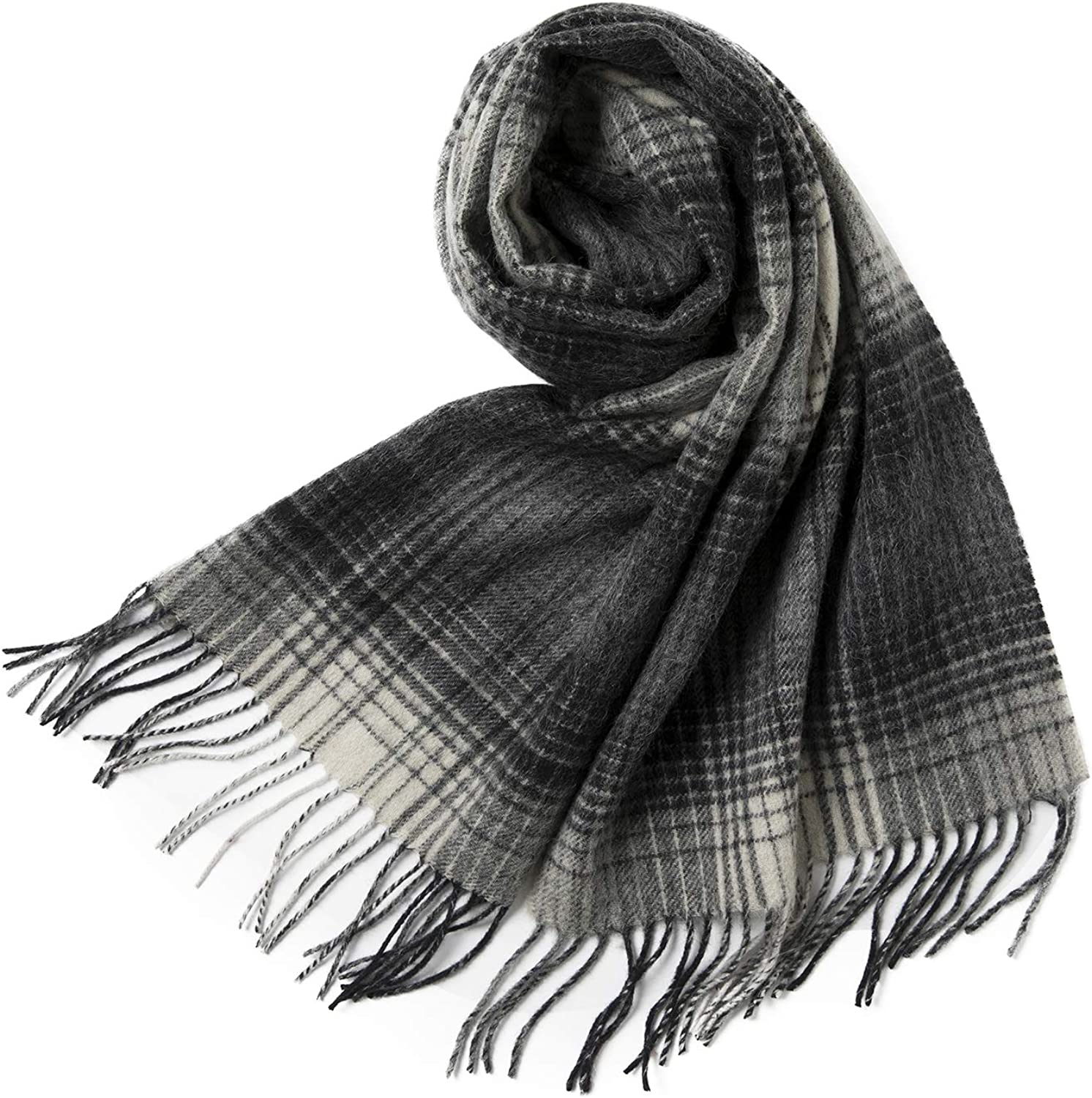 Comhats Cold Weather Scarf Shawl Wrap Womens Mens Fashion Warm Wool Soft Black-White