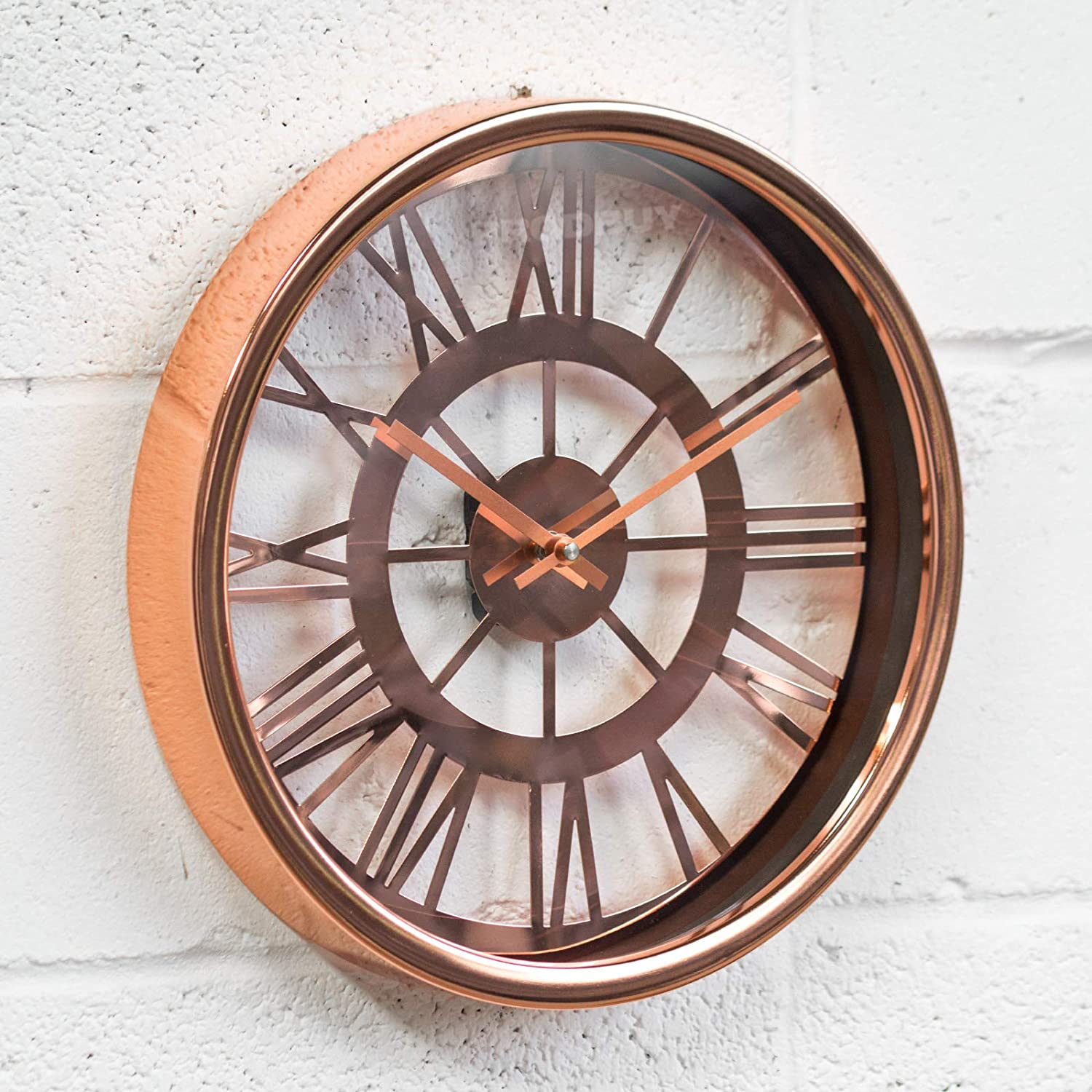 Prodbuy 35cm Transparent pink gold Copper Metal Wall Clock (Requires 2 x AA batteries)