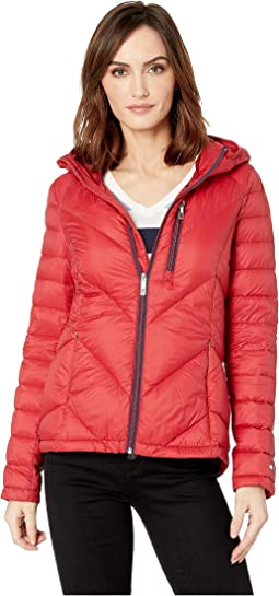 Packable Down Hooded Zip Front Jacket
