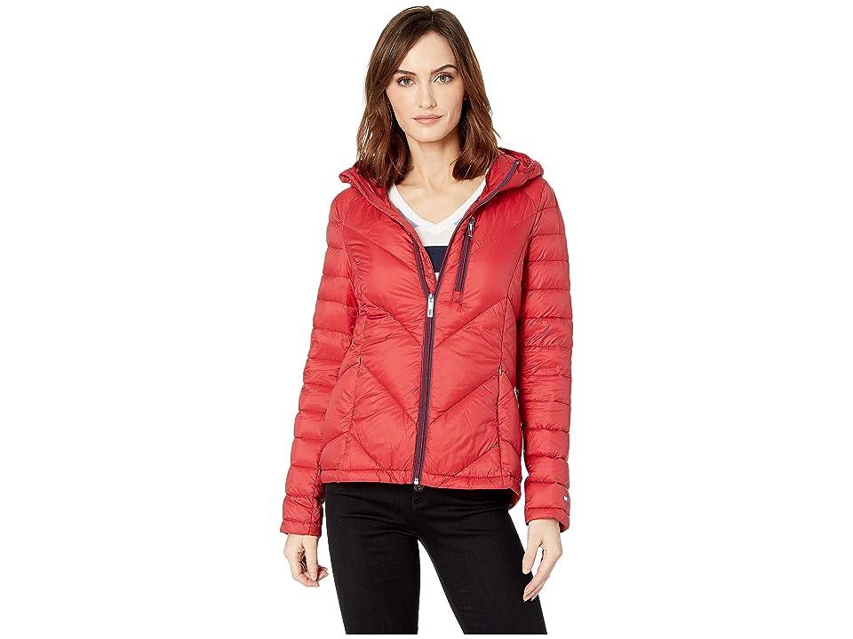 Tommy Hilfiger Packable Down Hooded Zip Front Jacket (Crimson) Women