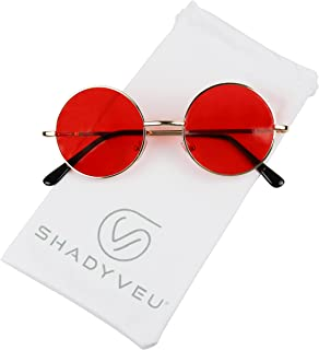 5798c9a020393 ShadyVEU - Retro Colorful Tint Lennon Style Round Groovy Hippie Wire  Sunglasses