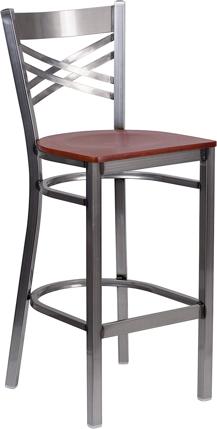 Flash Furniture Hercules Series Clear Coated X Back Metal Restaurant Barstool - Cherry Wood Seat [XU-6F8B-CLR-BAR-CHYW-GG]