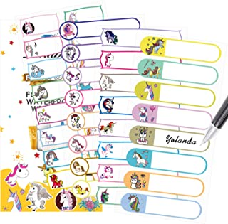 Baby Bottle Labels, Tinabless Self-Laminating, Waterproof Write-On Name Stickers for Daycare, School, Travel, Assorted Sizes & Colors, Pack of 88 (Unicorn)