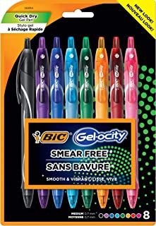 BIC Gel-ocity Quick Dry (Dries Up To 3x Faster) SUPER BRIGHT COLORS 8 Pack, Smear Free, Assorted Colors Retractable Gel Pe...