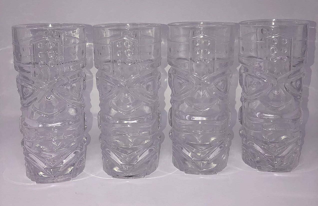 クスコ強調びっくりTRIBAL TIKI GOD GLASS 15オンス ポリネシアガラス ルアウ (4個パック)
