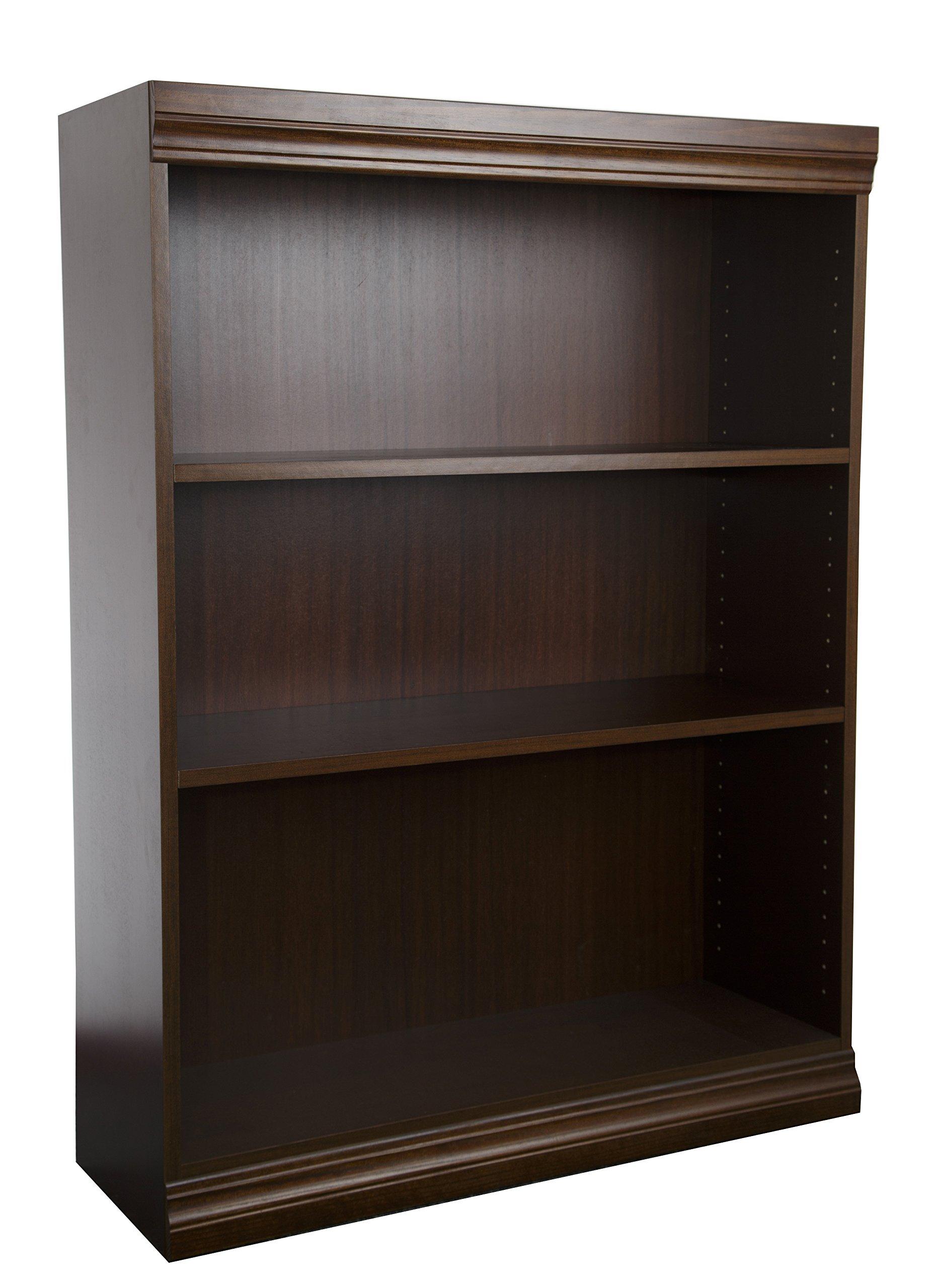 Norsons Industries Jefferson Traditional Wood Veneer Bookcase with Heavy Duty Shelf, 48-Inch, Vintage Walnut