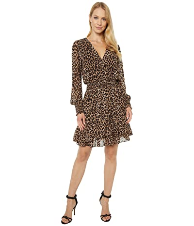 MICHAEL Michael Kors Mega Cheetah Ruffle Wrap Dress (Dark Camel) Women