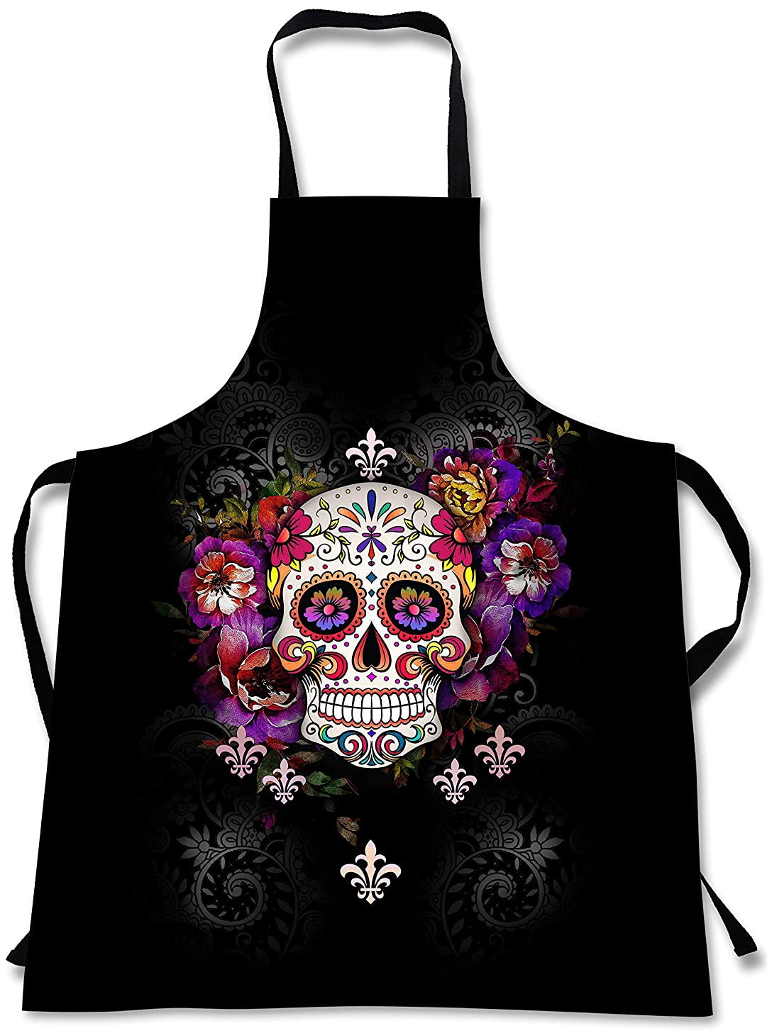 Sweet Gisele Sugar Skull Cooking Apron | 3D Print Chef Aprons | Great Home Kitchen Souvenir Gift Soft | Travel Accessories Made in USA | 1 Size Adjustable Bib Unisex (Black)