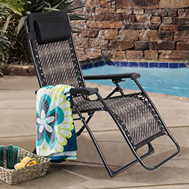 SOLAURA Adjustable Portable Rattan Lounge Outdoor Chair Zero Gravity Folding Wicker Recliner for Garden Patio Beach Porch Swimming Pool, Outdoor and Indoor Use, 1 Pack